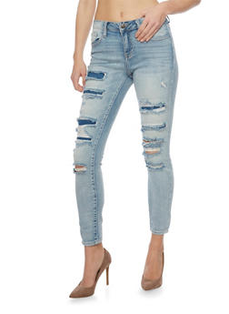 Cello Distressed Rip and Repair Skinny Jeans - 1074063154913