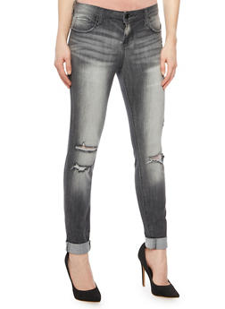 Cello Distressed Skinny Jeans in Faded Wash - 1074063155059
