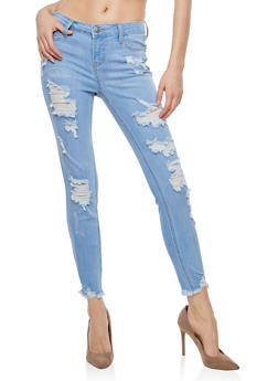 Cello Distressed Frayed Hem Jeans - 1074063155157