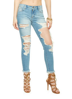 Cello Distressed and Cropped Skinny Jeans - 1074063155236
