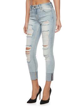 Cello Distressed Cuffed Denim Jeans - 1074063155281