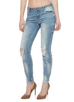 Cello Distressed Faded Fringe Hem Jeans - 1074063155282