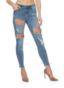 Cello Cutout Skinny Jeans with Frayed Cuffs - 1074063155297