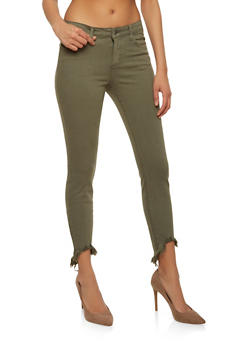 Cello Colored Raw Hem Skinny Jeans - 1074063155451