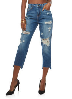 Cello High Waisted Destroyed Step Hem Jeans - 1074063155563