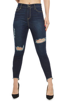 Cello Distressed Step Hem Jeans - 1074063155584