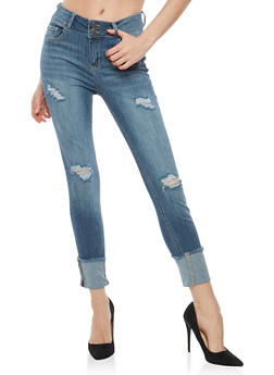 Cello Distressed Frayed Hem Jeans - 1074063155687