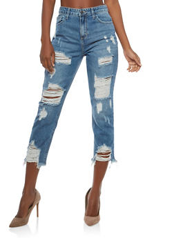 Cello High Waisted Destroyed Hem Jeans - 1074063155762