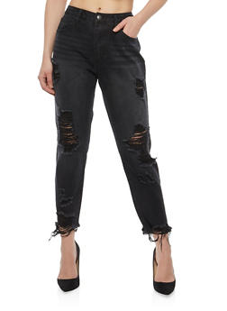 Cello Destroyed Raw Hem Boyfriend Jeans - 1074063155793