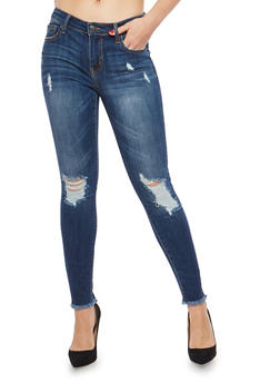 Cello Raw Hem Cropped Skinny Jeans - 1074063155806