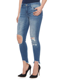 Cello Destroyed Cropped 5 Pocket Jeans with Knee Cutouts - 1074063157531