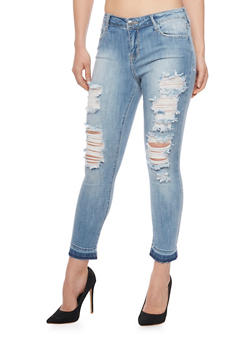 Cello Cropped and Destroyed Skinny Jeans - 1074063157534