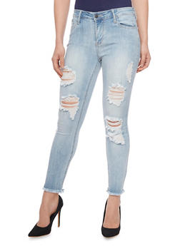 Cello Cropped Distressed Skinny Jeans - 1074063157548