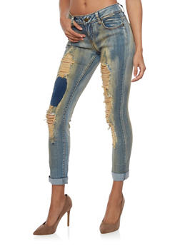 Skinny Jeans with Rip and Repair Details - 1074063402056