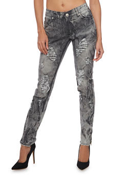 Ripped Frayed Hem Skinny Jeans with Tie Dye Wash - 1074063403378