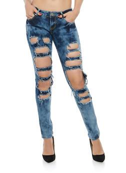 Cloud Wash Destroyed Skinny Jeans - 1074063406080