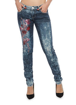 Floral Embroidered Acid Wash Jeans - 1074063406218