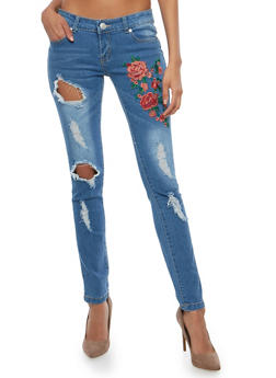 Distressed Skinny Jeans with Floral Applique - 1074063406336