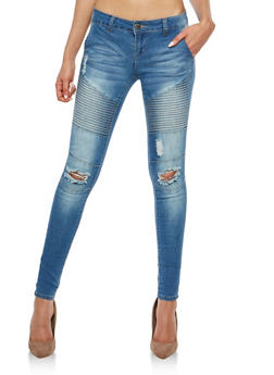 VIP Distressed Moto Detail Skinny Jeans - 1074065300523