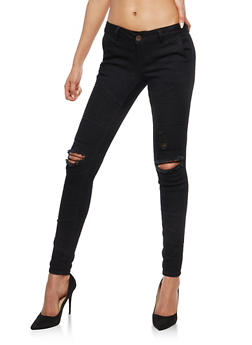 VIP Black Distressed Moto Jeans - 1074065300525