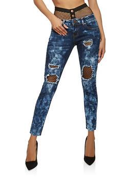 VIP Fishnet Trim Skinny Jeans - 1074065300831