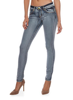 VIP Skinny Jeans with Faded Denim - 1074065301753