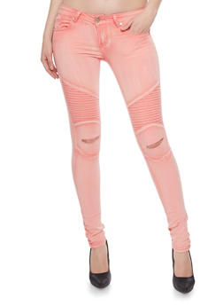 VIP Moto Skinny Jeans with Ripped Knees - 1074065301783