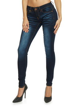VIP Classic Whiskered Dark Wash Skinny Jeans - 1074065301864