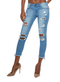 VIP Frayed Hem Destroyed Skinny Jeans - 1074065302705