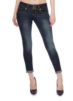 VIP High Waisted Push Up Skinny Jeans with Faded Details - 1074065302820