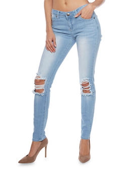 VIP Light Wash Ripped Skinny Jeans - 1074065302841