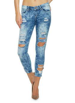 VIP Acid Wash Distressed Denim Skinny Jeans - 1074065302880