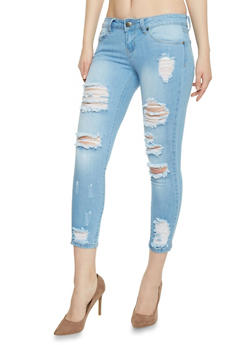 VIP Destroyed Light Wash Cropped Denim Jeans - 1074065305877