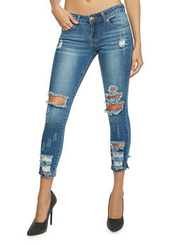 Cropped and Destroyed Skinny Jeans - 1074065305884