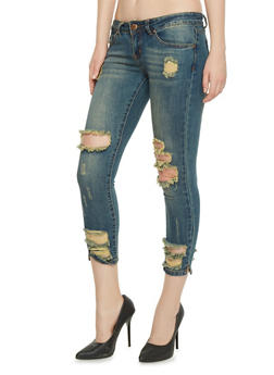 VIP Low Rise Destroyed Cropped Skinny Jeans - 1074065306994
