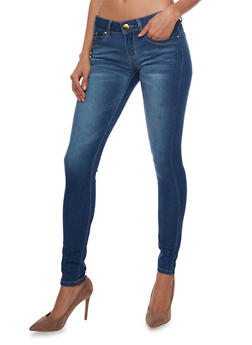 VIP Push Up Skinny Jeans with Faded Denim - 1074065307316