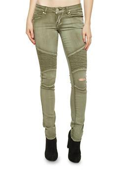 Moto Jeans with Slash Cut Knees - 1074065307823
