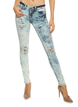 VIP Distressed Skinny Jeans in Acid Wash - 1074065307972