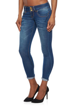 VIP High Waisted Push Up Skinny Jeans with Whisker Wash - 1074065308229