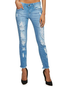 VIP Jeans with Distressing Throughout - 1074065308448