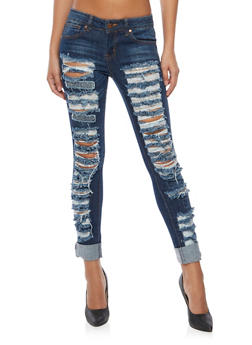 Destroyed Skinny Jeans in Blue Denim - 1074065308490