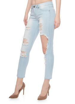 VIP Destroyed Light Washed Cropped Jeans - 1074065308703