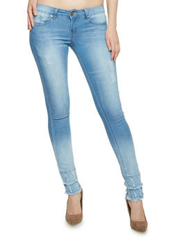 VIP Light Wash Frayed Push Up Jeans - 1074065308751