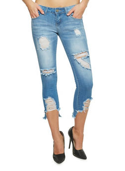 VIP Destroyed Low Rise Cropped Skinny Jeans - 1074065308761