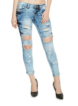VIP Acid Wash Destroyed Cropped Skinny Jeans - 1074065308833