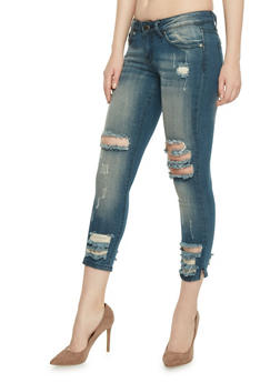 VIP Frayed Cropped Skinny Jeans - 1074065308842