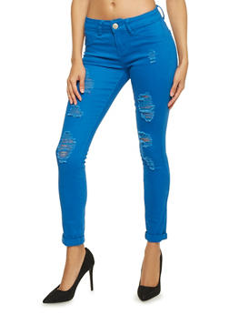 Dyed Skinny Jeans with Distressing - 1074065308919