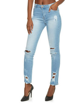Cropped Distressed Cropped Skinny Jeans - 1074067540399