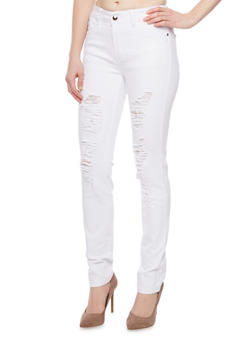 Ripped High Waisted Skinny Jeans with Five Pockets - 1074067540673
