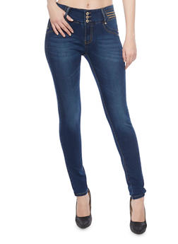 Skinny Jeans with Stitched High Waist and Back Darting - 1074067541641